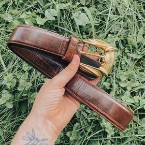 Genuine Leather Vintage Belt Brown w/ Gold Buckle